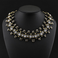 New Arrivals Designer Jewelry Vintage Gold Choker Statement Collar Necklace 2014 Fashion Crystal Necklaces & Pendants for Women