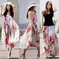 Drop Shipping 2014 Summer Bohemian Chiffon Skirt Floral Chiffon Fashion Maxi Long Flower Printed Skirt Two Wear