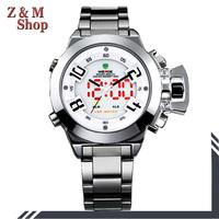 men full steel watch and watches men luxury brand weide men's lcd dual time quartz analog relojes deportivo hombre waterproof