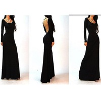 1pc/lot Free Shipping Black Spring 2014 Long Sleeve Square-neck Sexy Backless Empire Women Floor-length Maxi Dress 654531