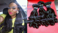 "Hot sale 6A 3pcs/lot #1b tip curls virgin peruvian aunty funmi human hair weave free shipping 8""-28"" mix length"