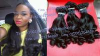 "Hot sale 6A 3pcs/lot #1b tip curls virgin peruvian aunty funmi human hair weave free shipping 8""-28"" mix length"