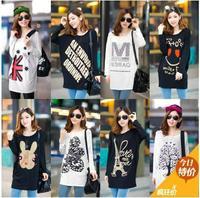 Free shipping 2014 spring new fashion loose o-neck long-sleeve t-shirt print basic shirts Tee Knit Top Casual long t-shirts