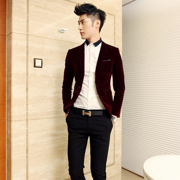 Dsshb fashion trend of the male slim quality black velvet suit casual blazer free shipping()
