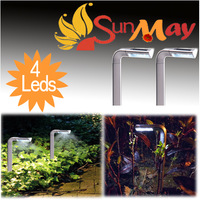 New Hot 2 pcs Solar powered panel 4 LEDS Spot Light Landscape Outdoor Garden Path Lawn lamp  Free Shipping