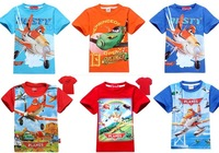 2014 New autumn -summer fashion  planes cartoon children t shirts kids t-shirt toddler baby boys short sleeves tops tees