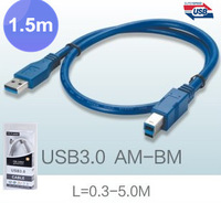 Free Shipping,Retail Packaging USB3.0 Extension Cable AM TO BM USB3.0 Cable BM 1.5m 5ft 4.8Gbps speed Support USB2.0 ,By FedEx