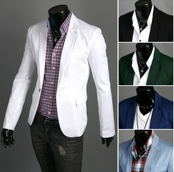 man spring 2014 mens blazer jacket solid color one button casual jackets mens slim fit suits winter dress blazer masculino(China (Mainland))