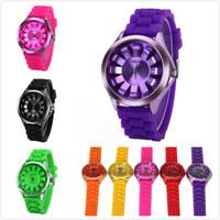 Geneva 2014 Hot New Brand Men's Sports Daisy Dial Silicone Jelly Quartz Watch Kids Fashion Women Dressed Wristwatch Relogios