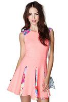 Pink Jacquard Satin Sleeveless Dresses Stitching Spring 2014 Plus Size Women Dress HDY-50