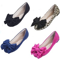 Size 40 Low Heel Round Toe Bowtie Flats Boat Shoes 2014 Spring Women Leopard Casual Loafers Fashion Moccasins Sapato Femininos