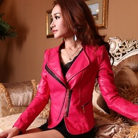 Free Shipping! 2014 Spring and Autumn Women's PU Slim Plus size Jacket,Female Short Design Leather Jacket Coat L XL XXL XXXL-5XL