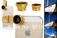 Free shipping High quality 3 In 1 universal clip lens wide angle macro fish eye glass lens camera lens for smartphone
