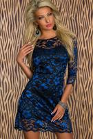 New Fashion Blue Flower Embroidered with Black Dress Half Sleeve Sexy Women Winter Dress Elegant Party Celebrity Midi Dress