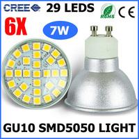 6X High Power GU10 Socket  SMD 5050 29 LEDS Bulb Lamp Spotlights 7W Warm White/Cold White Cree Light AC220-240V Replace Halogen