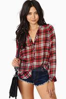 Spring 2014 Women Blouses Plaid Long-Sleeved Chiffon  Blouse Plus Size Shirt Women HDY-305