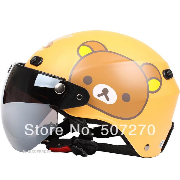 "B.117 Taiwan ""EVO "" 1/2 ABS Half Face Helm Ebike Casque Motorcycle "" Rilakkuma Bear "" Matt Orange Helmet & UV "" W "" Lens Summer(China (Mainland))"