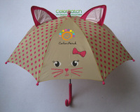 6401,Girl's Sweet Cat Umbrella,Straignt Handle,Pink Color with Cat Design,64cmx8K,Silicone Stopper,UK Order Stock,Meet EN71 Test