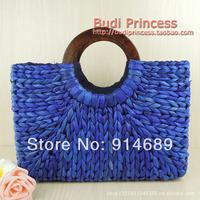 The new straw bag beach bags simple retro handbags leisure wild hand