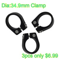 Bicycle Parts Seat Post Clamp Bike Clamp Collar Black Colors 34.9mm 3pcs For Bicycle Outside Diameter 34.9mm Seat Tube