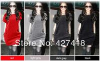 New 2014 Fashion Hot Sale Women's Sweater Dress Casual Pocket Jersey Dresses For Women S M L XL XXL