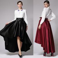 Women Skirts Summer 2014 New Plus Size Brand Design Satin Bud Pleated Trumpet Mermaid Asymmetrical Maxi Long Skirt