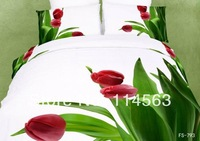 New Beautiful 4PC 100% Cotton Comforter Duvet Doona Cover Sets FULL / QUEEN / KING SIZE bedding set 4pcs white green red tulip