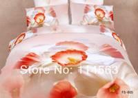 New Beautiful 4PC 100% Cotton Comforter Duvet Doona Cover Sets FULL / QUEEN / KING SIZE bedding set 4pcs white orange flower OP1