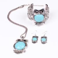Free shipping Turquoise Vintage Jewelry set Owl  Pendants chunky necklace Bangle earring set Choker Necklaces