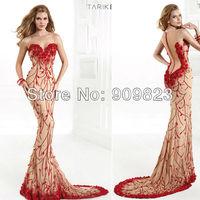 2014 Designer Sweetheart Red Embroidery Beaded Little Flowers Mermaid Slim Nude Elegant Evening Gowns Dresses Tarik Ediz 1394