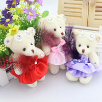 Super graceful 12pcs 12cm bouquet wedding marry feather joint teddy bear plush bag phone pandent doll small toy gift wholesale