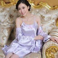Women's Silk Sleepskirt Solid Color Sleep Skirt Pajamas Robe Sleepwear Embroidery Nightgown