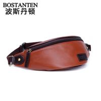 Bosi Dan Benton new men's zipper pockets male Korean leather sports bag leather shoulder bag chest pack bag