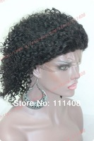 "10"" Short 25cm 100% Indian Remy Human Hair Lace Wigs Kinky Curl Off Black Wig Full Lace / Lace Front / Glue less Caps Size M"
