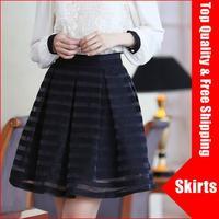 cheap plus size women skirts new fashion 2014 organza pleated stripe chiffon tutu skirt