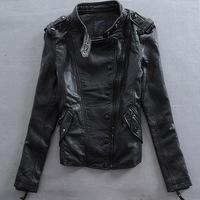 2014 new spring autumn women's leather coat sheepskin women's stand collar slim motorcycle stylish genuine leather jacket WTP2