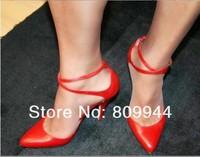 Cross-heeled ultra thin with big yards 12CM red high heels