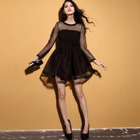 Krazy ladies elegant exquisite organza long-sleeve vintage 6076 puff skirt