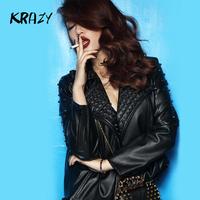 Krazy street fashion punk rock metal rivet leather motorcycle outerwear 6189  women clothing