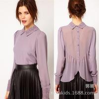 Free Shipping! 2014 spring lace crochet collar shirt back split button lotus leaf chiffon shirt blouse purple 3 size MC183