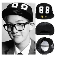 2014 free shipping Exo white baseball cap 88 male flat along the cap hats personalized black hiphop hat
