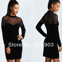 Free shipping New Black Velvet Sweetheart Neck Bodycon Dress Wholesale 12pc/lot  Sexy Clubwear 2014 cheap dress 2998
