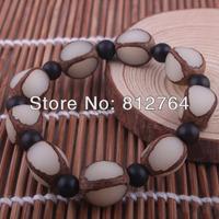 Free shipping White Seed of Talipot Palm Corypha umbraculifera Linn Buddha wooden beads Buddhist mala bracelets Men&Women 9*15mm
