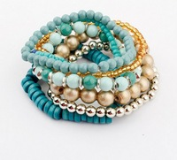 Free shipping pulsera de perlas 2014 summer handmade sweet color jewelry bangle fashion stretchy beads bracelet for women