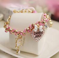 TB095 bracelets & bangles JC leather bracelet bowknot and heart charms bracelet for women