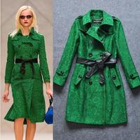 Elegant Double Breasted Women Trench Green Long Women Coat Outerwear S M L