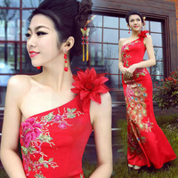 Bride Fishtail One shoulder Cheongsam Embroidery Lace Fashion Red Chinese style 2014 New