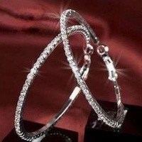 60MM Silver/Gold Large Big Hoops Earrings Basketball Wives Crystal Hoops Earrings Free Shipping 12pairs/lot