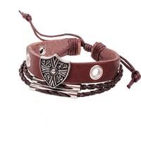 New 2014 Vintage Roman shield brown genuine leather bracelet men and women handmade beaded Bracelets & Bangles 2027 dropshipping