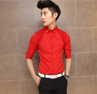 Hot Sale 2014 Spring summer Dress Men's Shirt,Vintage raglan sleeve Lace Flower Neckline Slim Half Sleeve Shirts,Red White Black